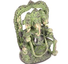 Brass Three Headed Ganesha Sculpture�with Patina