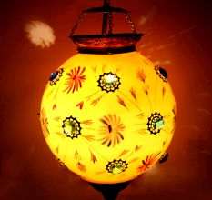 Mustard Glass Hanging Globe Lamp