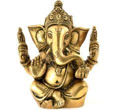Brass Chaturbhuja Sitting Ganesha Statue Idol