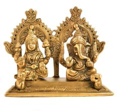 Decorative Brass Laxmi Ganesha Statue With Arch and Two Rats