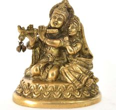 Brass Krishna with Flute and Radha Statue