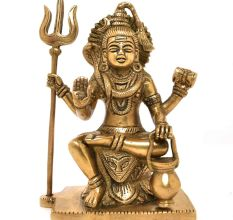 Sitting Brass Statue of Lord Shiva and Trishul Kamandal Dholak