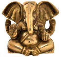 Brass Big Ears Ganesha Sitting Idol