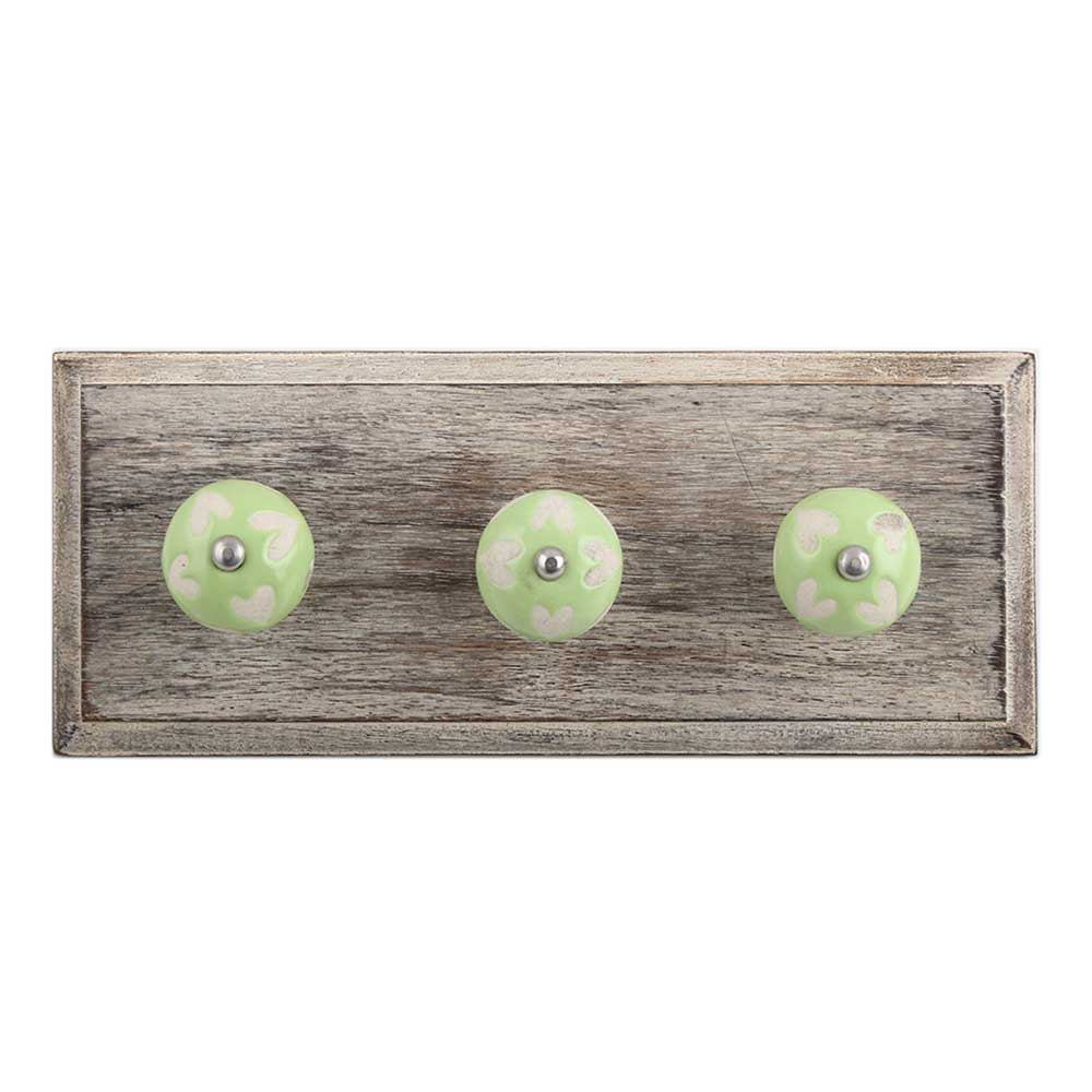 Light Green Etched Ceramic Wooden Hooks