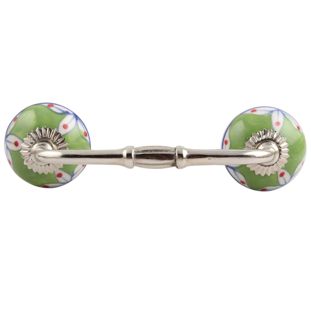 Pea Green Leaf Ceramic Bridge Handle