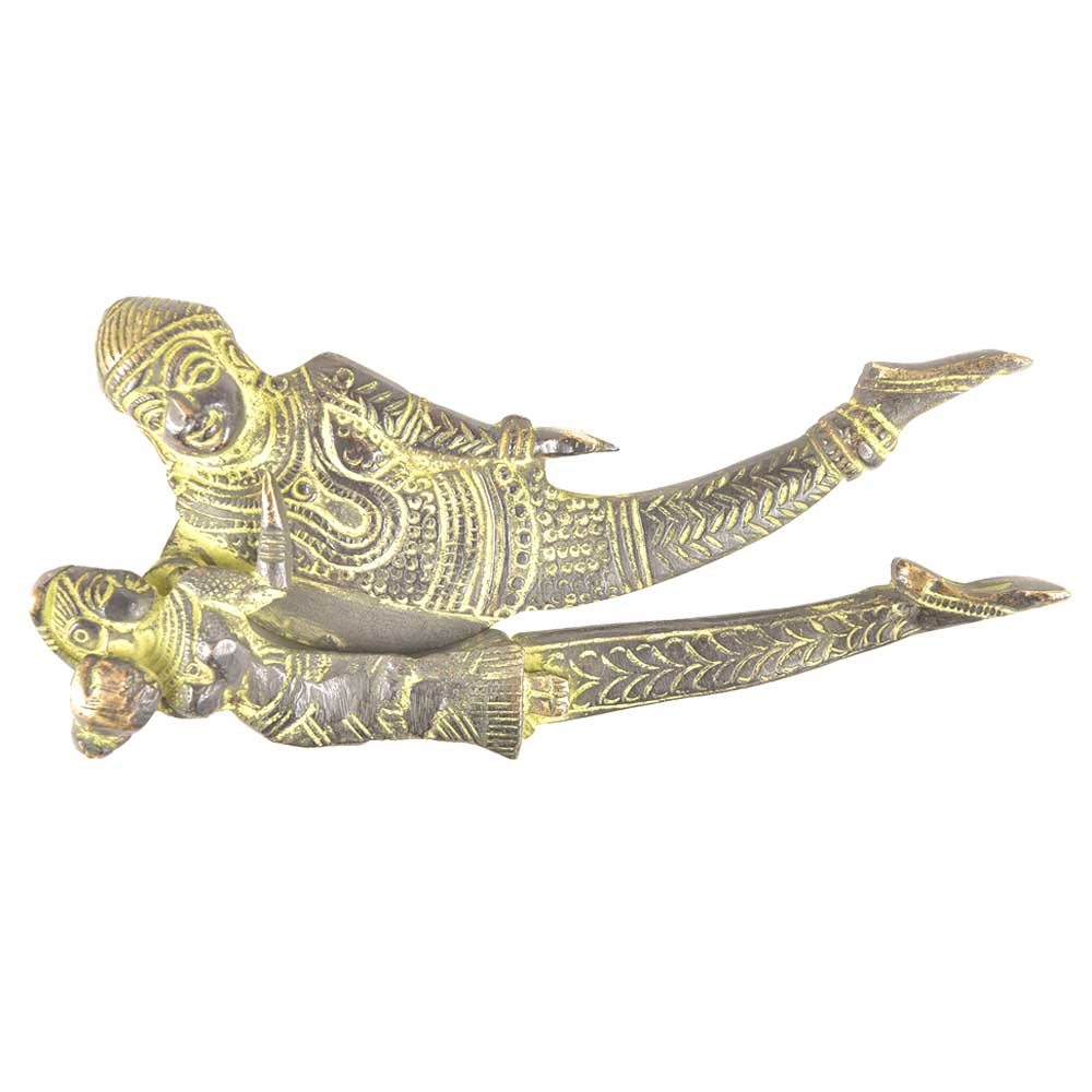 Lord Vishnu and Goddess Lakshmi Patina Engraved Brass Nut Cracker