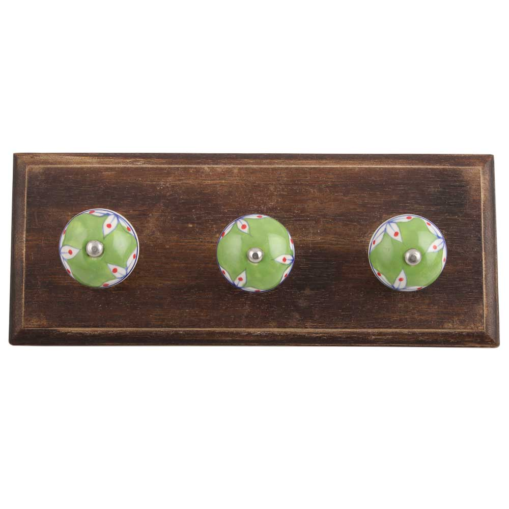 Pea Green Leaf Ceramic Wooden Hooks