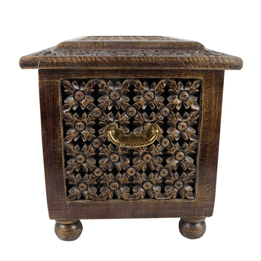 Handcrafted Carved Mango Wood Chest With Latch