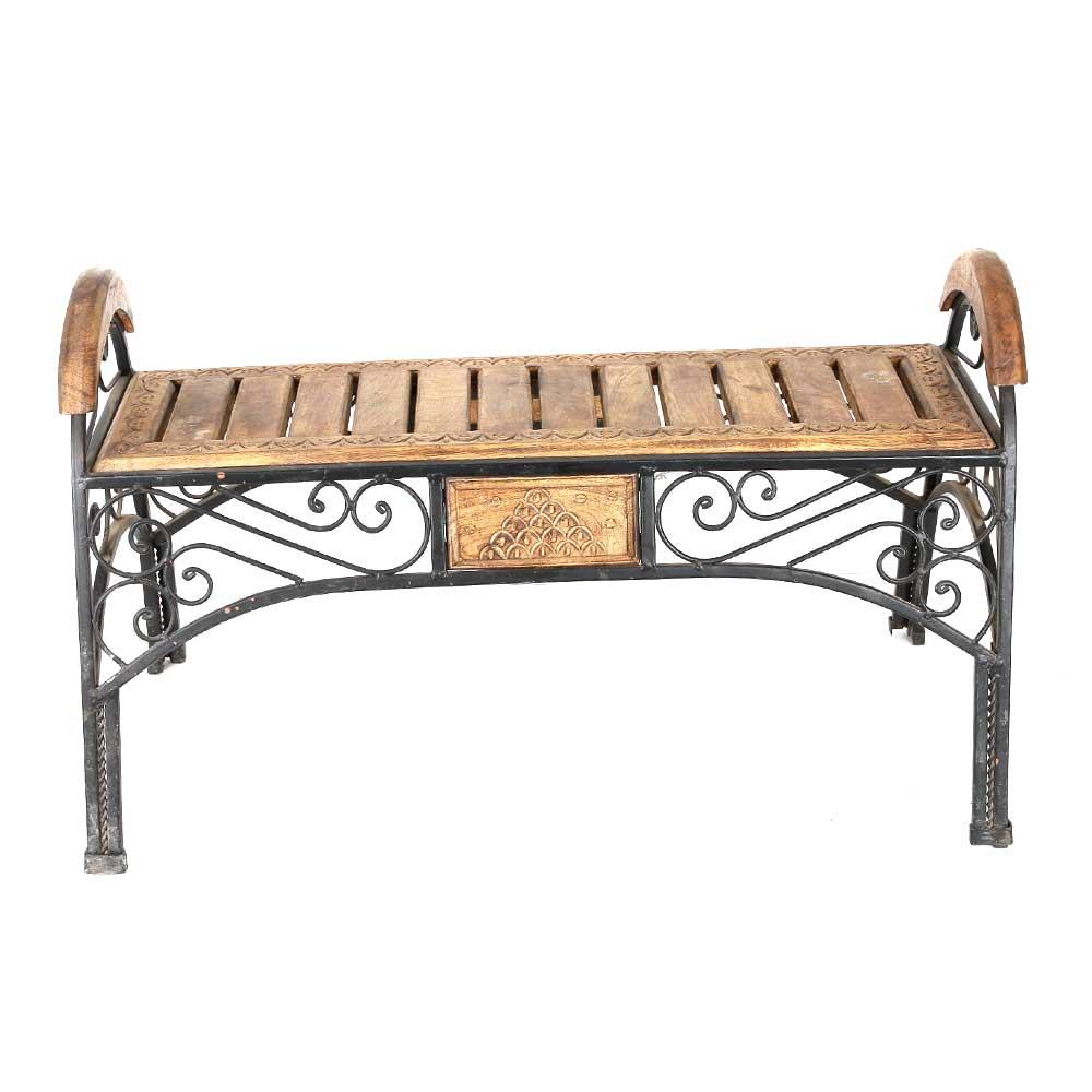 Wood & Iron Cum End Table Stool