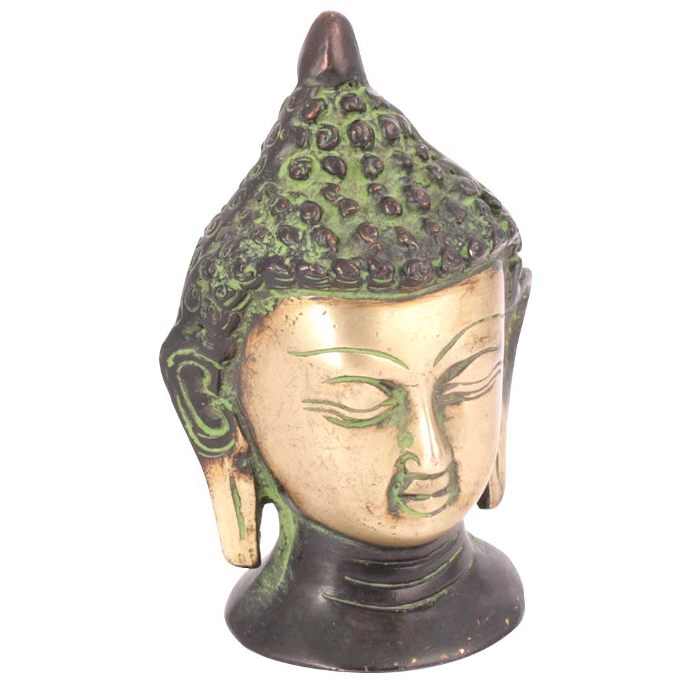 Brass Green Patina Buddha Head Statue