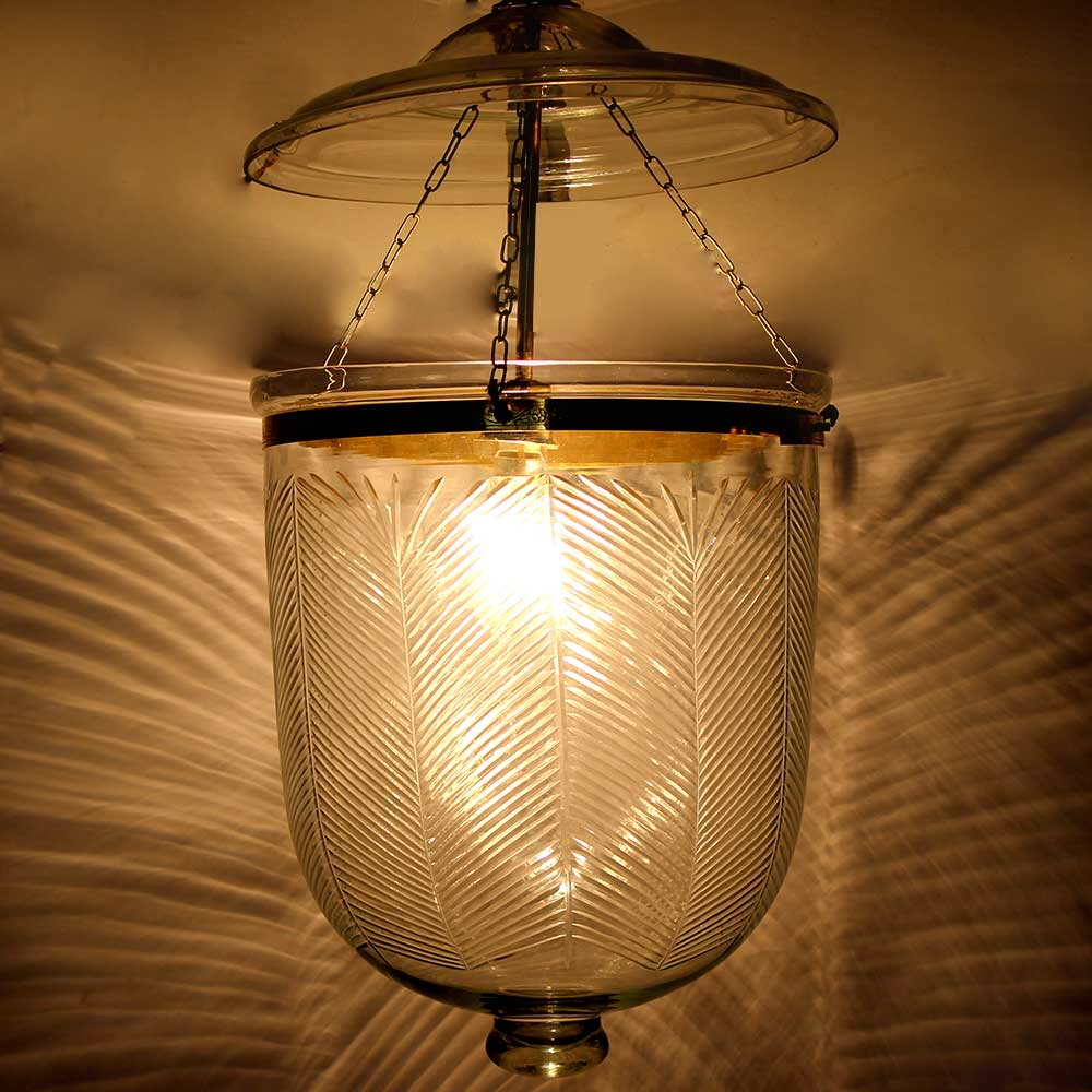 U Shape Clear Cut Glass Ceiling Lamp