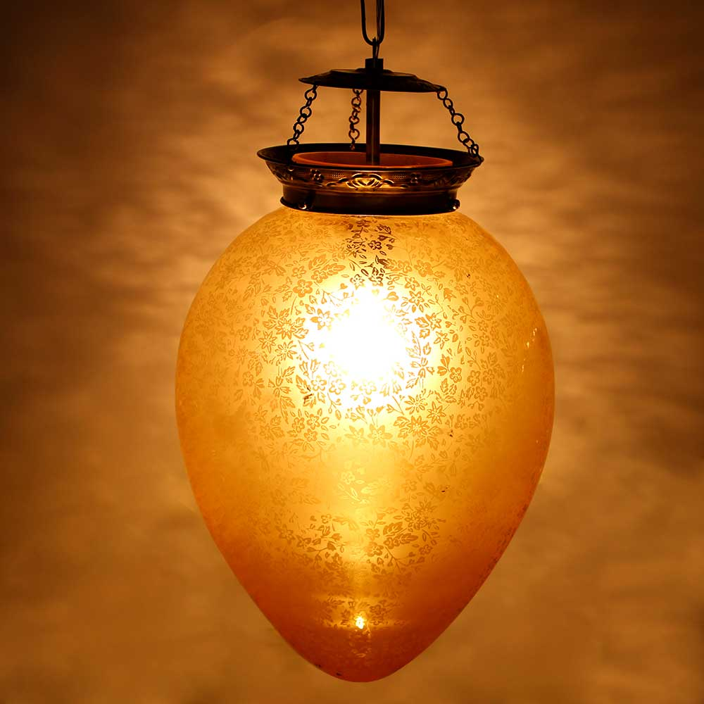 Yellow Oval Ornaments Glass Ceiling Lamp