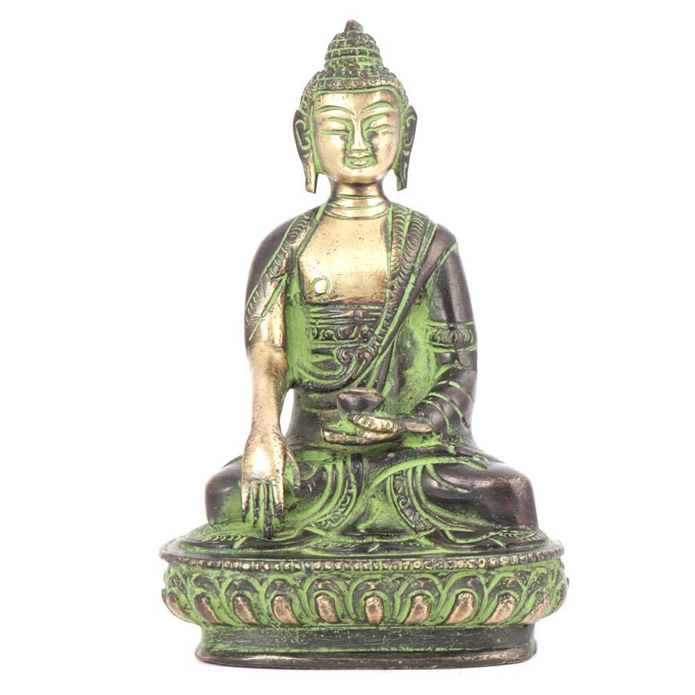 Green Bronze Sitting Buddha Statue