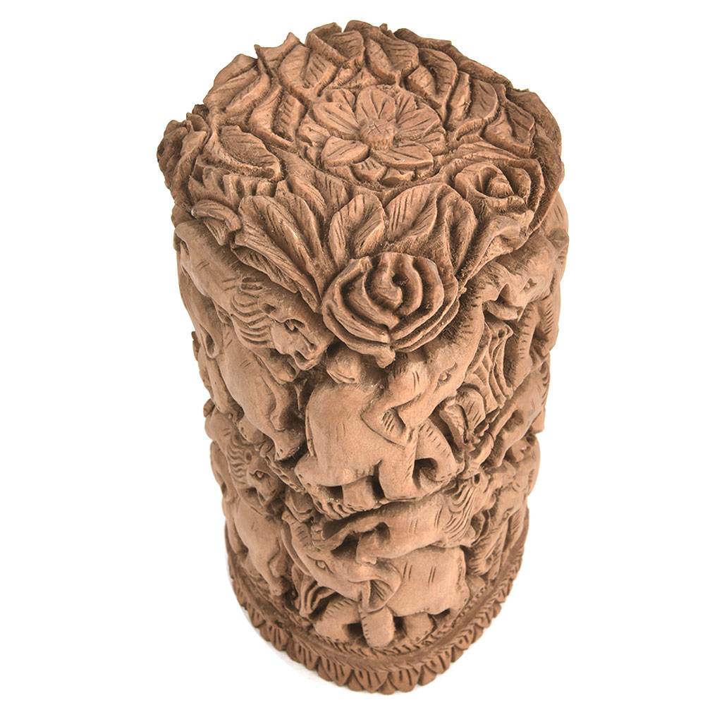 Wooden Indian Elephant Lion Carved Home Decor Statue