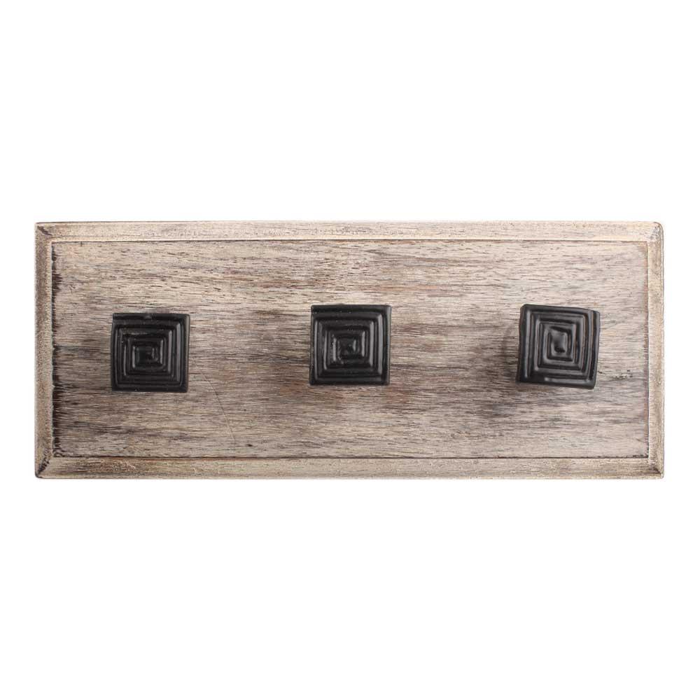 Black Restoration Metal Wooden Hooks