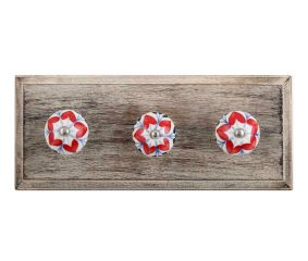 Red Flower Ceramic Wooden Hooks