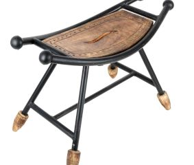 Wooden Wrought Iron Boat Shaped Stool