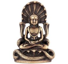 Buddha In Meditation With Protective Naga Snake 12 cm Statue