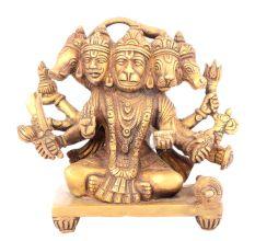 Brass Panchamukhi Hanuman 5 Head Statue