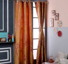 Turkish Bath Jacquard Door Curtain Set Of 2: Stripes