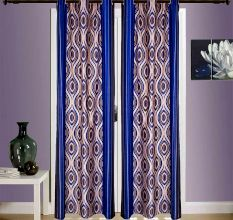 Turkish Bath Jacquard Door Curtain Set Of 2: Floral Blue