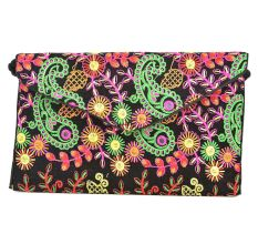 Black Floral Tribal Ethnic Gypsy Clutch Shoulder Bag