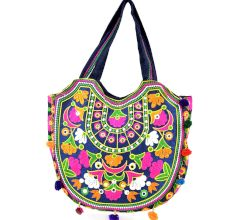 Dark Blue Ethnic Ladie Purse Thread Work Bag