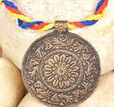 Bronze Circle Pendant with Flower Etched