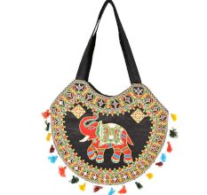 Black Hand Made Boho Embroidery Round Bag