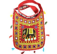 Red Embroidered Elephant Sling Bag