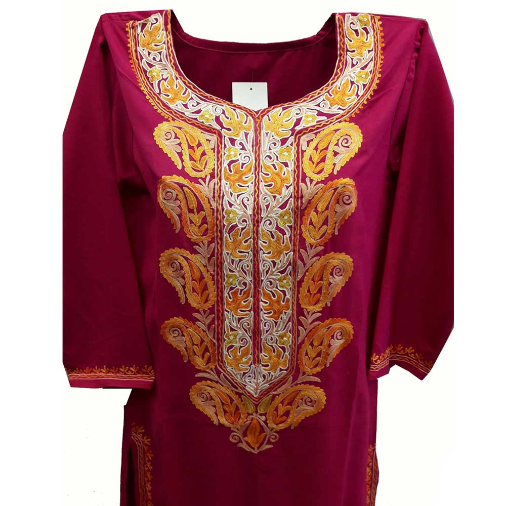 Stiched Cotton Kashmiri Deep Pink Kurti Yellow Pasley Floral Border