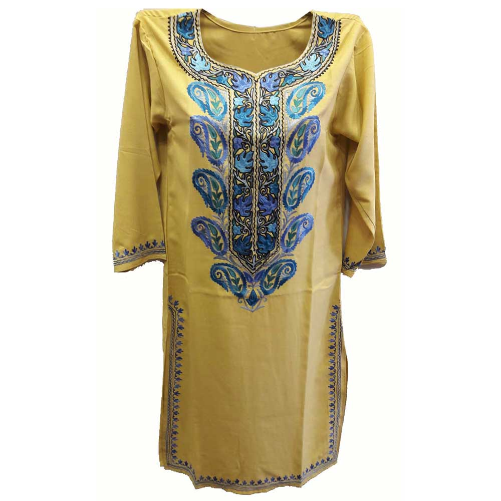 Stiched Cotton Kashmiri Kurti Yellow Blue Pasley Floral Border