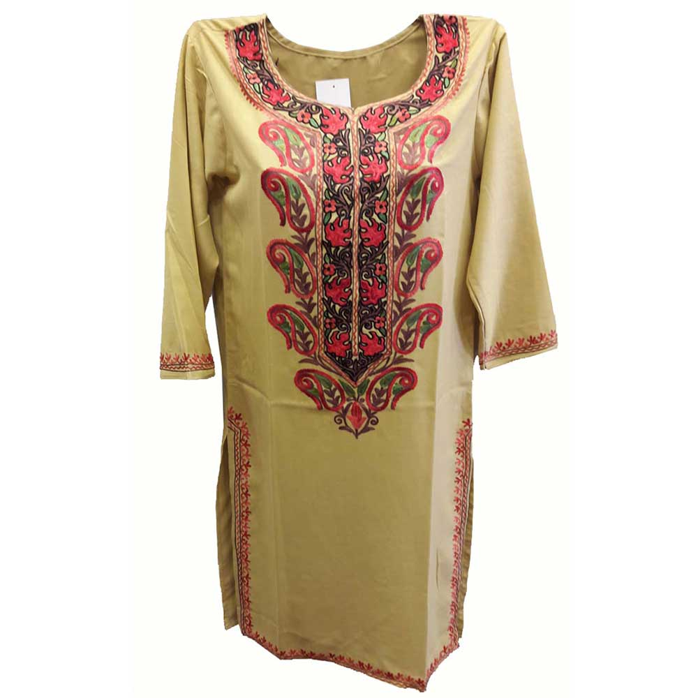 Stiched Cotton Kashmiri Kurti Cream Pink Pasley Floral Border
