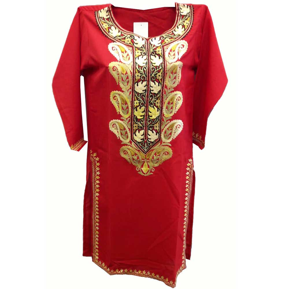Stiched Cotton Kashmiri Red Kurti Cream Pasley Floral Border