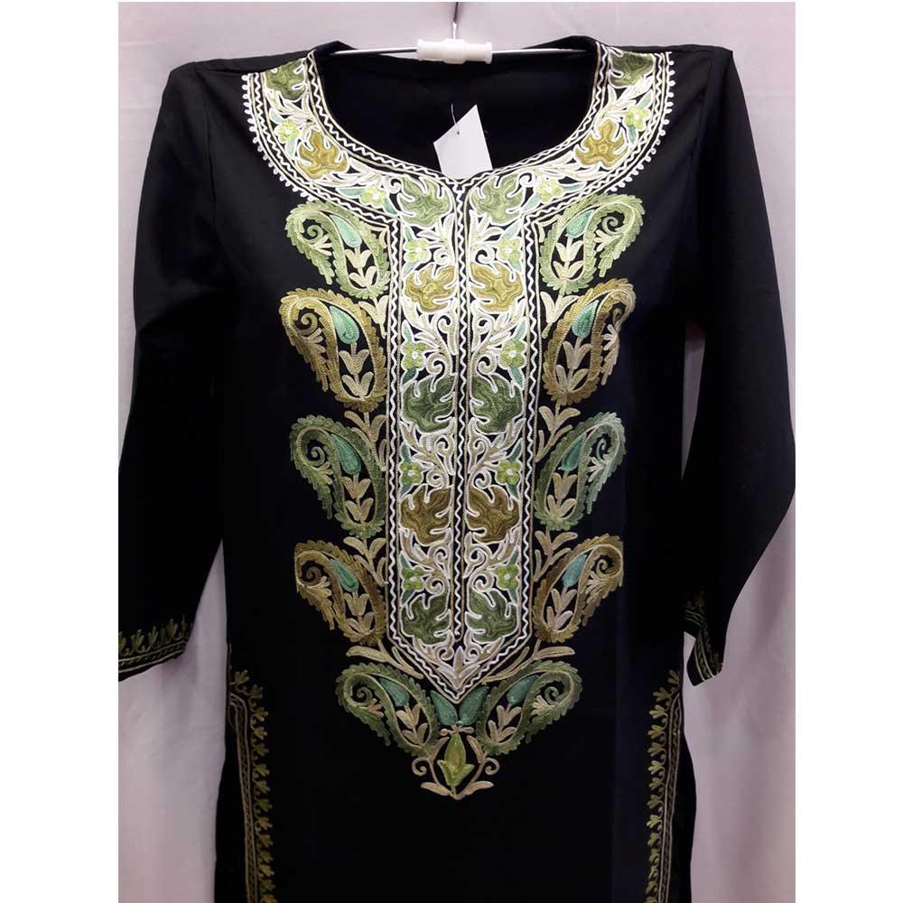 Stiched Cotton Kashmiri Black  Kurti Golden Green Pasley Floral Border