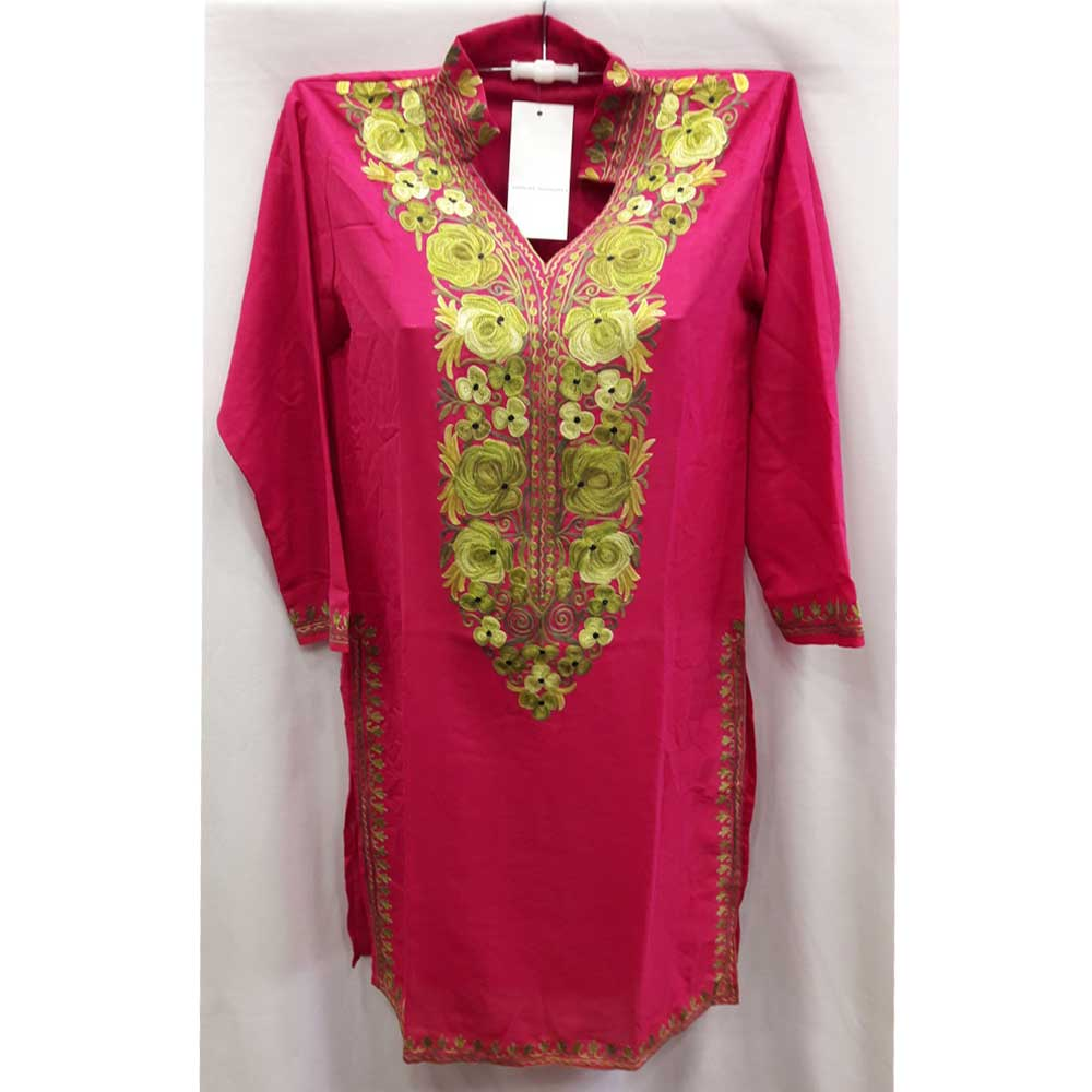 Stiched Cotton Kashmiri Pink Kurti Grass Green Pasley Floral Border