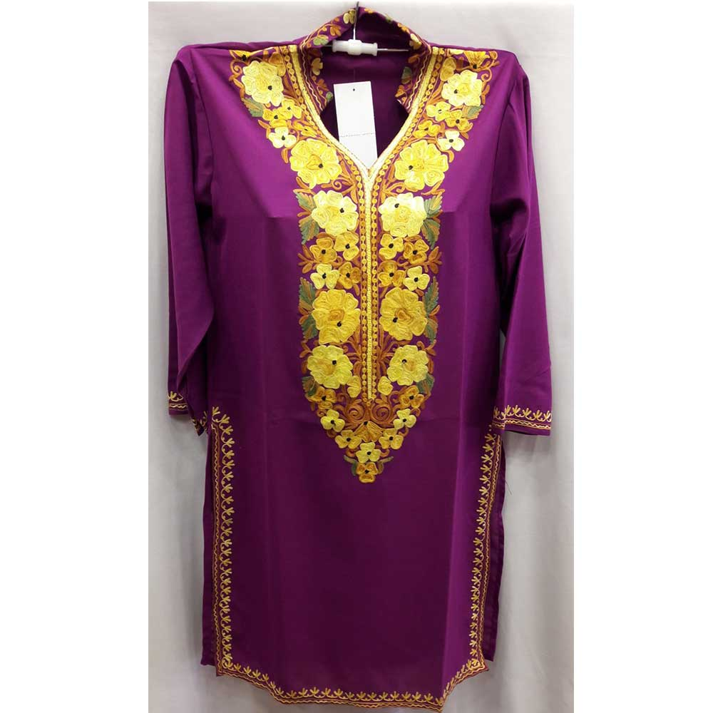 Stiched Cotton Kashmiri Purple Kurti Yellow Pasley Floral Border