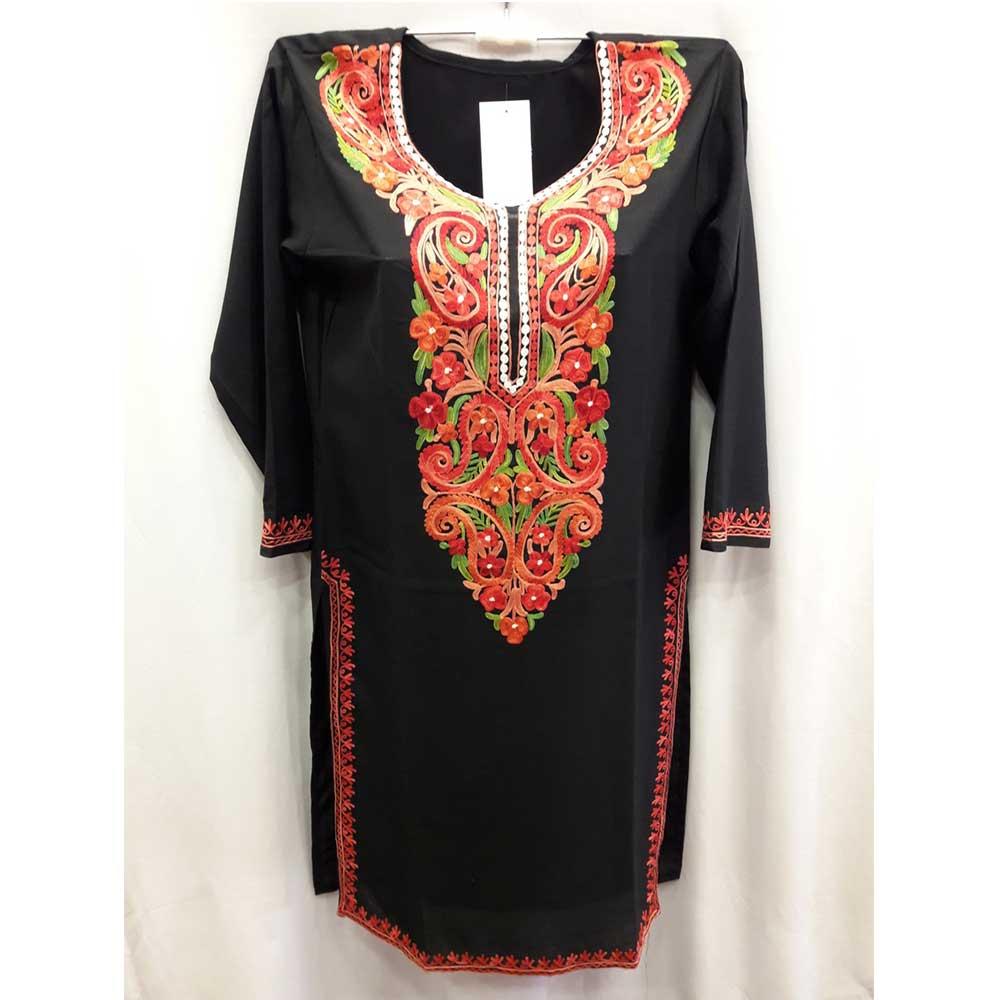 Stiched Black Red Green kashmiri Embroidery Cotton Kurti