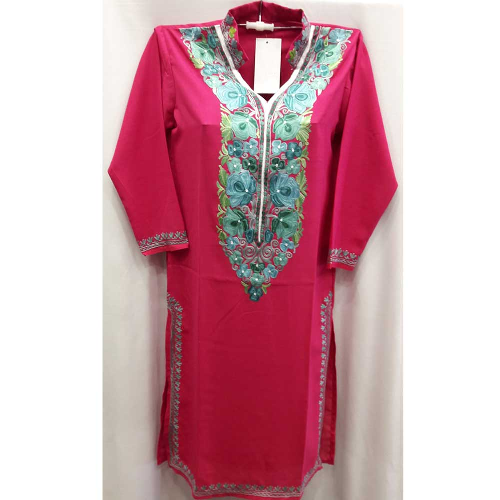 Stitched Pink with Blue Roses Embroidered Cotton Kurti