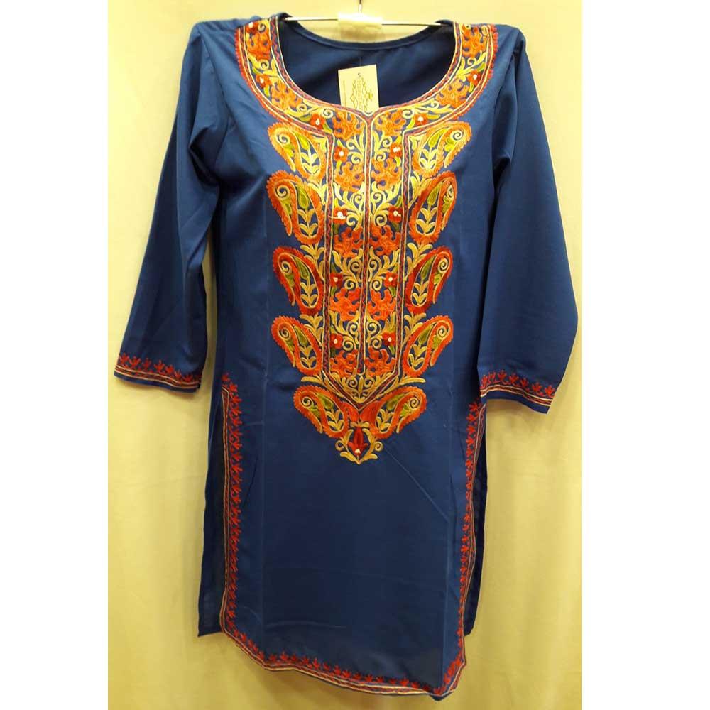 Dark Blue Stitched Blue Pasley Embroidered Cotton Kurti