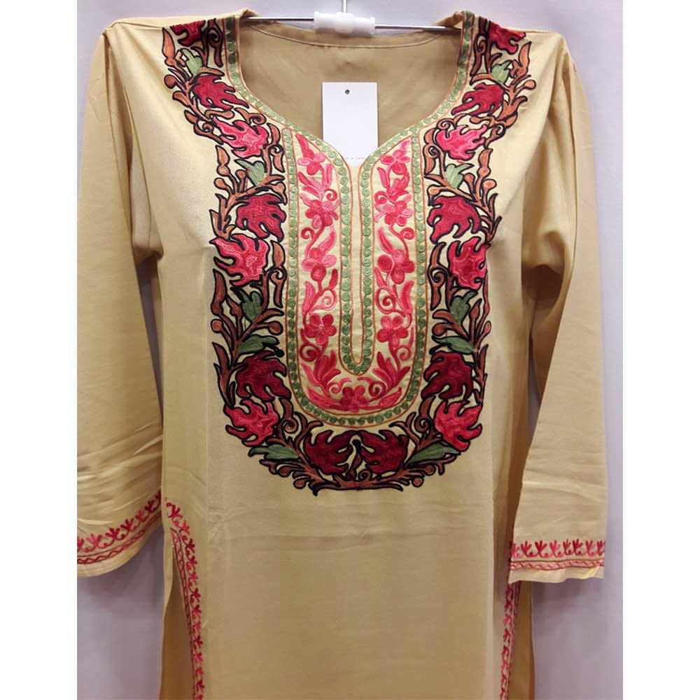 Beige Stitched Red Leaves Embroidered Cotton Kurti