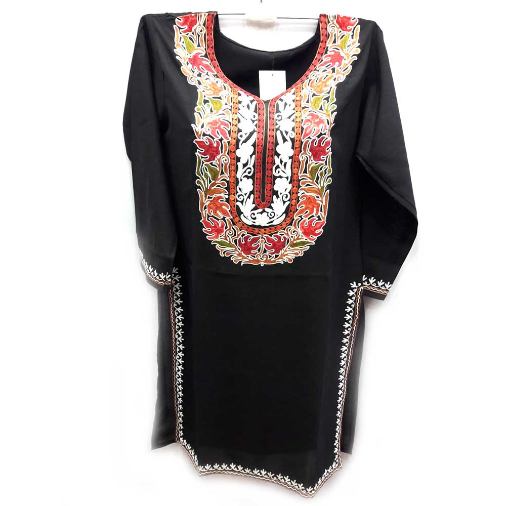 Black Stitched Red Leaves Embroidered Cotton Kurti