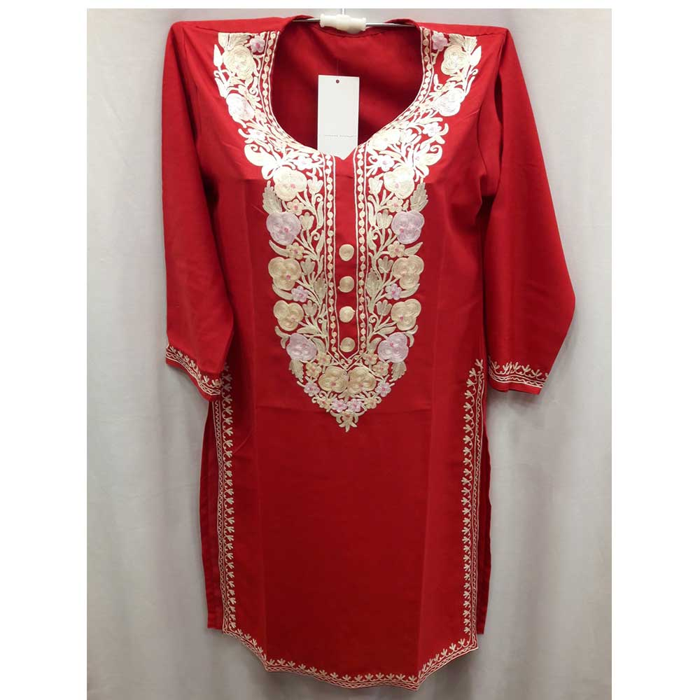 Red Stitched White Floral Embroidered Cotton Kurti