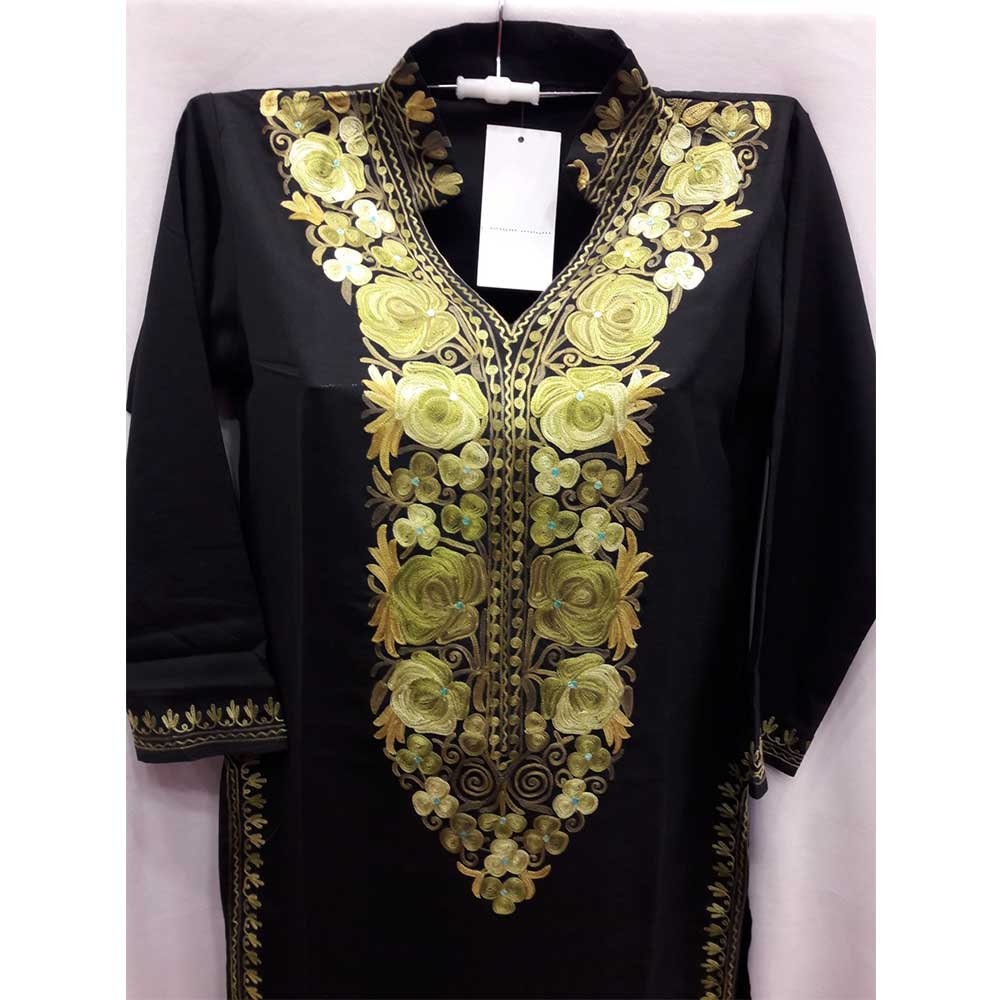 Black Stitched Grass Green Floral Embroidered Cotton Kurti