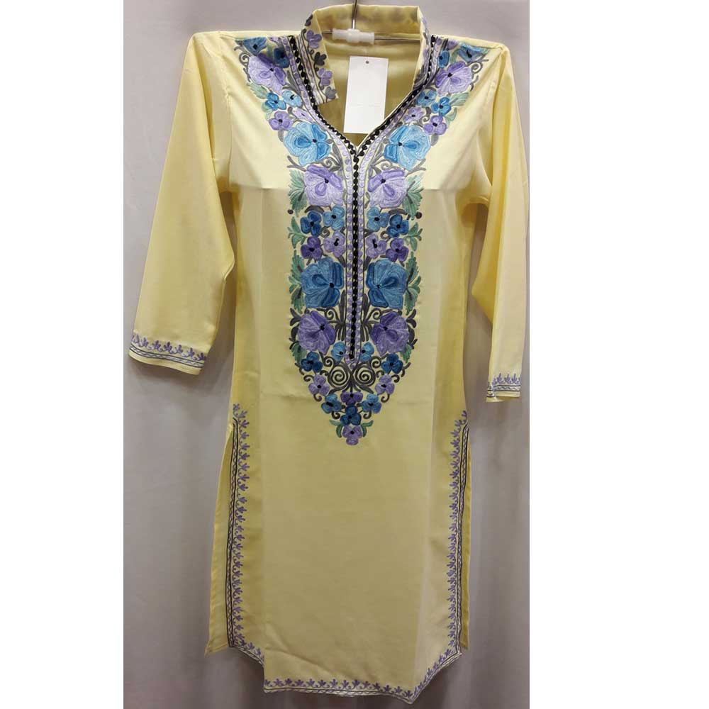 Yellow Stitched Blue Floral Embroidered Cotton Kurti
