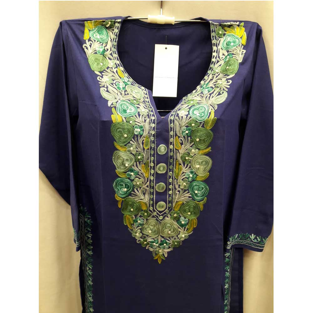 Navy Blue Stitched Green White Floral Embroidered Cotton Kurti
