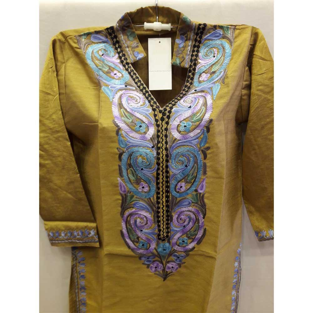 Olive Green Summer Kashmiri Embroidered Long Kurti