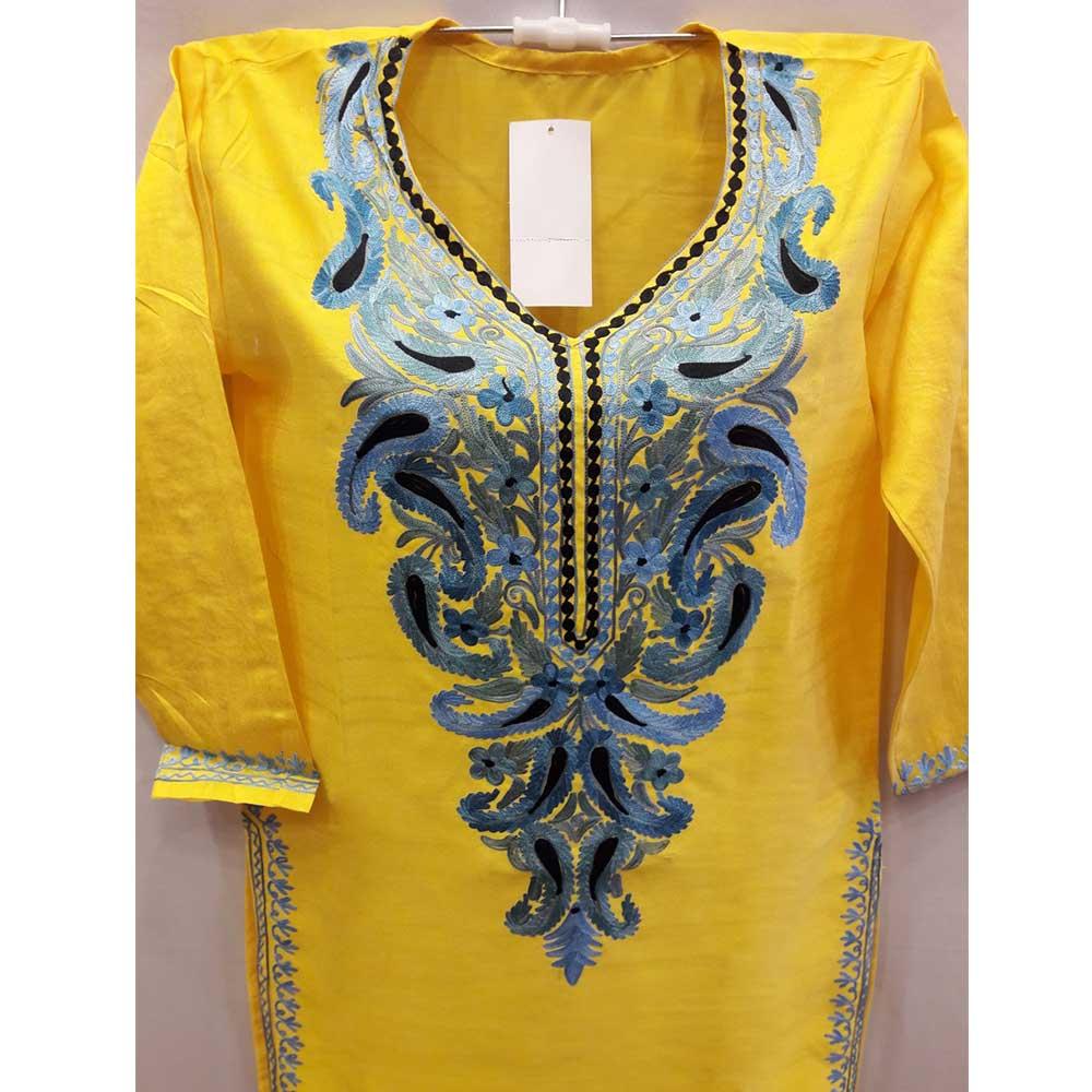 Yellow Summer Kashmiri Embroidered Long Kurti