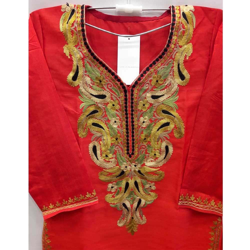Red Summer Kashmiri Embroidered Long Kurti