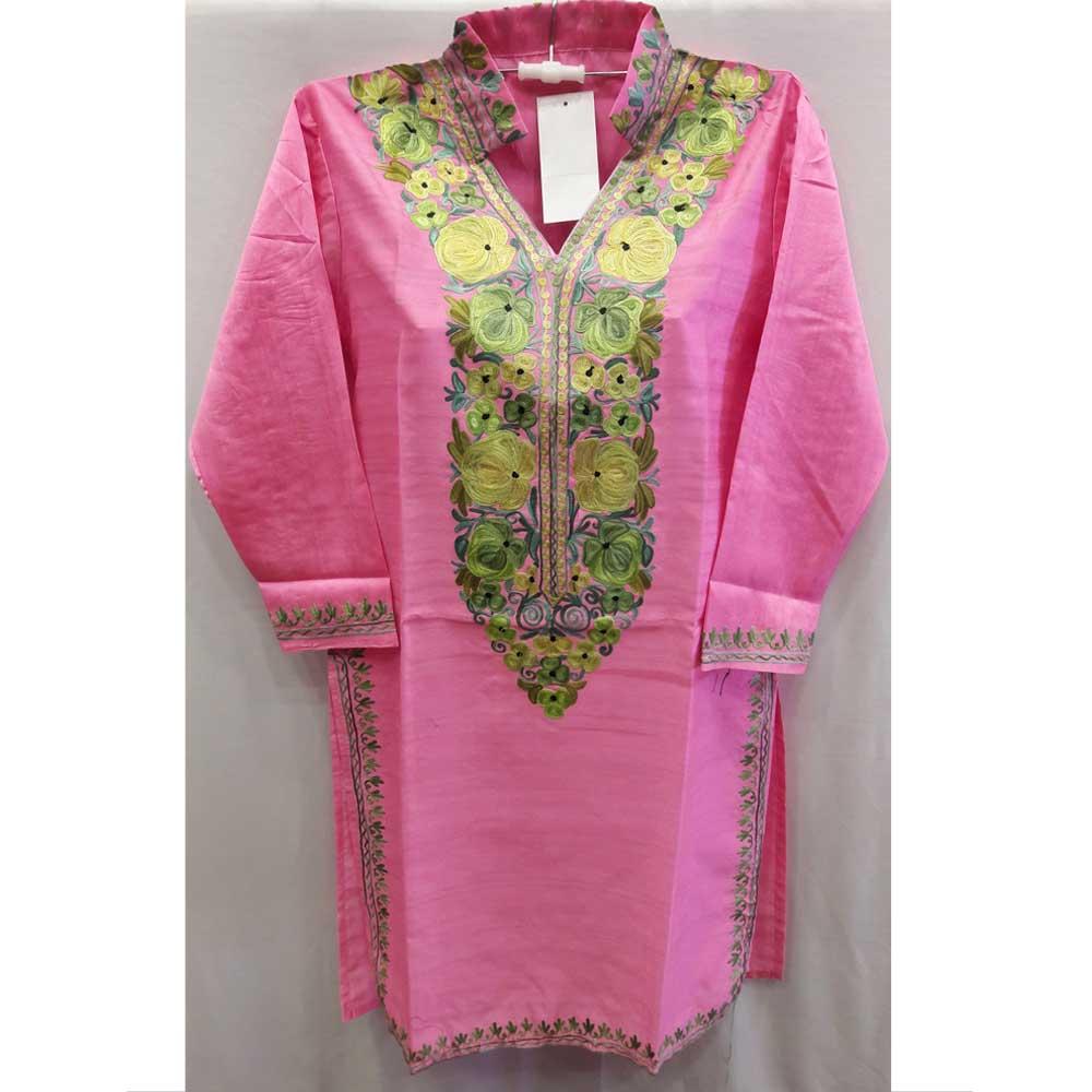 Pink Summer Kashmiri Embroidered Long Kurti